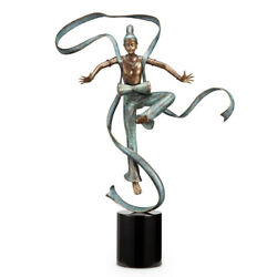 Dunhuang Dancer With Drum Brass Statue On Marble Base Hand Painted