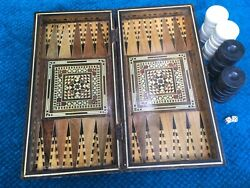 Antique Wood Mosaic Inlay Backgammon Board Large Game Pieces