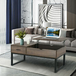 Modern Lift-up Top Coffee Table With Hidden Storage Compartment And Shelf Brown Us