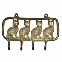 Brass Sitting Cats Wall Hooks Hangers Holder Hanging Coat Towel Clothes
