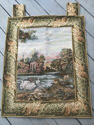 Vintage Tapestry Wall Hanging With backing Swans