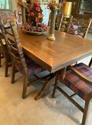 Antique Romweber Viking Oak Collection Dining Room Table - Very Nice Table Only