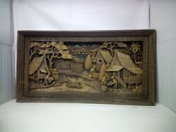 2825.5 X 12 Teak Wood Carving Wall Panel Hand Carved Asian Wood Sculpture