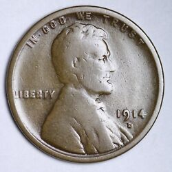 1914-d Lincoln Wheat Cent Penny Choice Vg Free Shipping E165 Ocnm