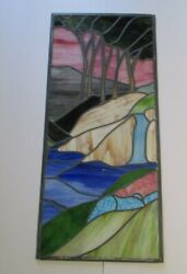 Vintage Large Stained Glass Window Painting Sculpture Colorful Landscape Modern