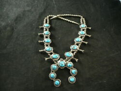 Vintage Native American Turquoise And Sterling Squash Blossom Necklace