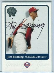 2001 Fleer Greats Of The Game Jim Bunning Signed Autographed Card 92 Hof