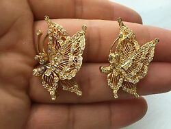 18kt Butterfly Diamond Pin And Pendant/pin Solid Yellow Gold 1.50ct 2x