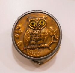 Antique / Vintage Owl Glass Eyes Tape Measure Brass Retractable Marked Germany