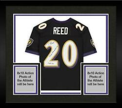 Frmd Ed Reed Ravens Signed Black Mandn Replica Jersey With Multiple Inscs - 1/20