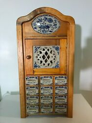 Vintage Dutch/delft Style Spice Cabinet 12 Drawers Door Compartment - Nice