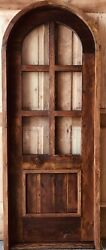 Rustic Spanish Reclaimed Lumber Arched Top Glass Top Door Solid Wood Storybook