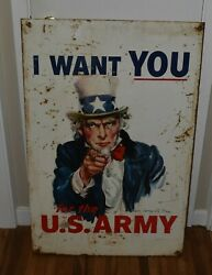Vintage Iconic Uncle Sam I Want You For The Us Army Recruiting Advertising Sign