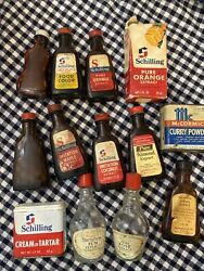 Vintage Lot 16 Spice Tins Extract Bottles Wagner Schilling Mccormick 1969 1979