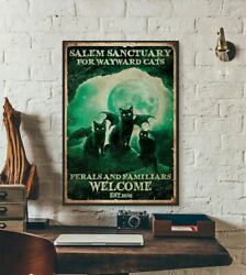 Ryta Halloween Witch Black Cat Salem Sanctuary Feral Cats Welcome Moon Poster