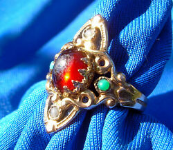 Real Art Deco Nuoveau Garnet Pearl Turquoise Antique Victorian Solid Gold Ring