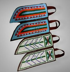 Set Of 4 Sheaths Native American Sioux Indian Beaded Leather Knife Sheath S804