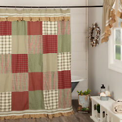 New Farmhouse Cottage Red Green Patchwork Burlap Ruffle Shower Curtain