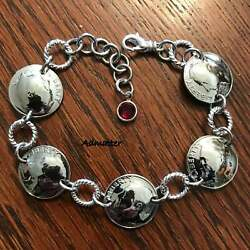 1953 Sterling Silver Dime Coin Bracelet Birthday Gift Pick The Birthstone Charm