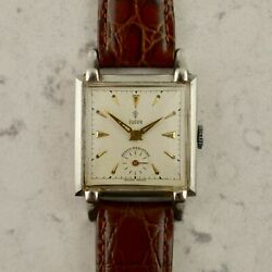 C.1950 Vintage Tudor By Rolex Honeycomb Dial Deco-square Watch Ref. 812 In Steel