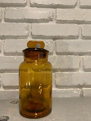 Antique Vintage Amber Glass Apothecary Bottle Jar W/ Stopper Made In Italy