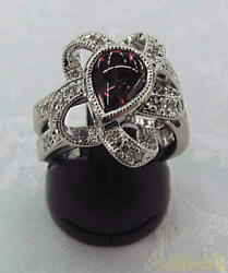 Ring With Jewels Pt900 No.13 Diamond 0.3ct 14.8g Natural Road Light Garnet 1.87