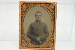 1/4 Plate Civil War Soldier Ambrotype Photograph Ruby Glass Antique
