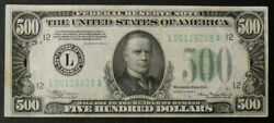 1934-a 500 San Francisco Fed Reserve Note Fr2202-l High Grade Vfxf Note