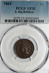 1864 L On Ribbon Indian Head Small Cent Coin Pcgs Graded Vf 35 42692694