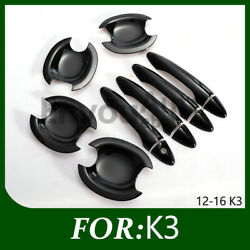 Gloss Black Color Side Door Handle Bowl Covers Trims Kia For K3 2012-2016