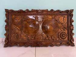 Large 3d Antique Style Wooden Old World Map Bas-relief Wooden Carved Wall Art