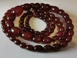 Antique Cherry Amber Bakelite Graduated Necklace 124cm And 115g Beads 10mm To 32mm