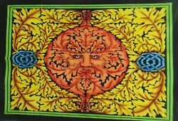 Indian Mandala Yellow Color Leaf Lion Wall Hanging Throw Cotton Tapestry Poster