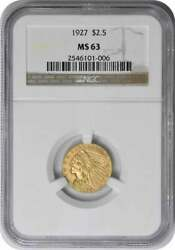 1927 2.50 Gold Indian Ms63 Ngc