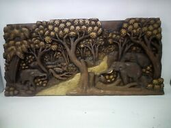 3425.5 X 12 Teak Wood Carving Wall Panel Hand Carved Asian Wood Sculpture