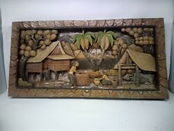 3525.5 X 12 Teak Wood Carving Wall Panel Hand Carved Asian Wood Sculpture