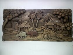 2925.5 X 12 Teak Wood Carving Wall Panel Hand Carved Asian Wood Sculpture