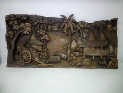 5525.5 X 12 Teak Wood Carving Wall Panel Hand Carved Asian Wood Sculpture