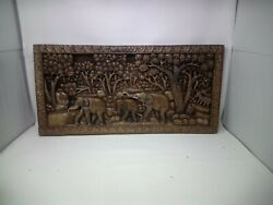 4325.5 X 12 Teak Wood Carving Wall Panel Hand Carved Asian Wood Sculpture
