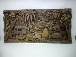 25.5 X 12 Teak Wood Carving Wall Panel Hand Carved Asian Wood Sculpture 51