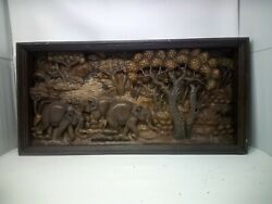 3125.5 X 12 Teak Wood Carving Wall Panel Hand Carved Asian Wood Sculpture