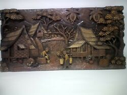 25.5 X 12 Teak Wood Carving Wall Panel Hand Carved Asian Wood Sculpture 42