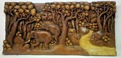 225.5 X 12 Teak Wood Carving Wall Panel Hand Carved Asian Wood Sculpture