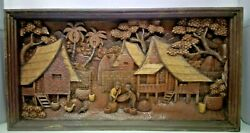 5725.5 X 12 Teak Wood Carving Wall Panel Hand Carved Asian Wood Sculpture
