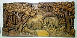 2425.5 X 12 Teak Wood Carving Wall Panel Hand Carved Asian Wood Sculpture