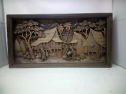 2725.5 X 12 Teak Wood Carving Wall Panel Hand Carved Asian Wood Sculpture