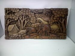 4525.5 X 12 Teak Wood Carving Wall Panel Hand Carved Asian Wood Sculpture