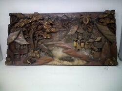 5425.5 X 12 Teak Wood Carving Wall Panel Hand Carved Asian Wood Sculpture