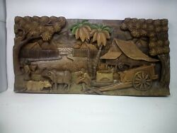 3025.5 X 12 Teak Wood Carving Wall Panel Hand Carved Asian Wood Sculpture