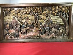 46-25.5x 12 Teak Wood Carving Wall Panel Hand Carved Asian Wood Sculpture